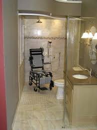handicap accessible bathroom small roll in shower