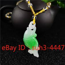 details about green jade fish pendant chinese jadeite necklace fashion charm jewelry amulet
