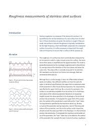 Roughness Measurements Of Stainless Steel Surfaces