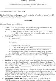 Contract For Catering Services Template Cmdone Co