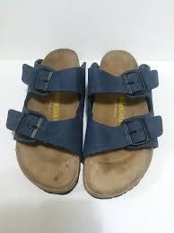 birkenstock arizona sandals 40 l9m7 blue leather straps needs repair birkenstock flipflops