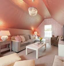 ... Family room with stunning use of pink wallpaper [Design: Heather  ODonovan Interior Design]