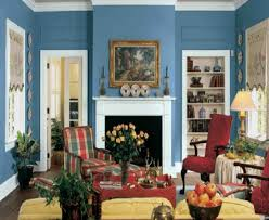 Painting Living Room Blue Living Room Blue Living Room Walls Red Armchair Fireplace Wall