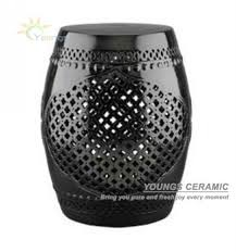 black garden stool.  Stool Chinese Black Lattice Ceramic Garden Stools H18inches Throughout Black Garden Stool O