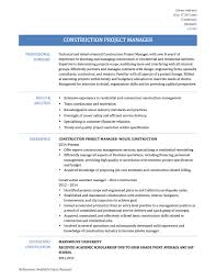 Resume Templates For Project Management Construction Unique