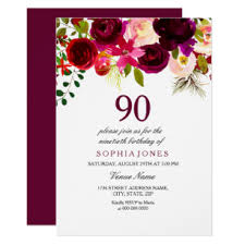 90 Birthday Party Invitations 90th Birthday Invitations Zazzle Au
