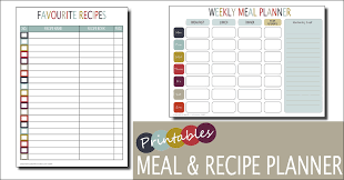 monthly meal planner template weekly meal planner template free printable family home