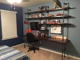 teen boy furniture. industrial shelves galvanize pipes desk teen boy room furniture