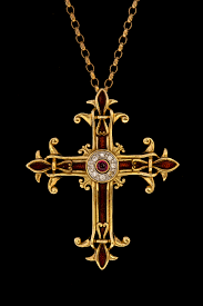 lot 147 a 14ct gold modern franklin mint faberge enamelled cross pendant with a small