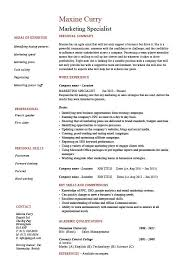 Marketing specialist resume, sales, academic qualifications, example, sample,  key skills, careers