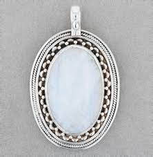 sterling silver large genuine moonstone pendant necklacegems jewels fine jewelry and repair gems jewels fine jewelry and repair