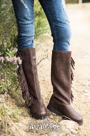 cha ibiza fringes baggy tall leather boots cha ibiza brown