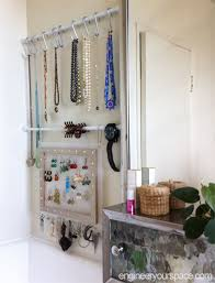 jewelry rack set up a tension rod