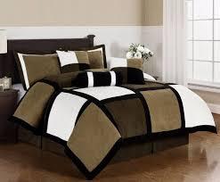 black brown white microsuede patchwork 7 piece duvet cover set queen