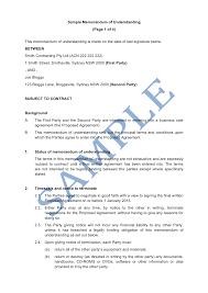 Memorandum Sample Memorandum Of Understanding Sample Lawpath