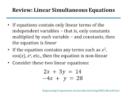 2 review linear simultaneous equations