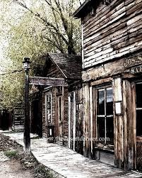 old western ghost town digital photo art barber print painting decor printable instant