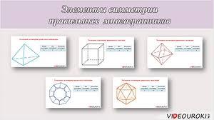 Элементы симметрии правильных многогранников Вы смотрели Элементы симметрии правильных многогранников