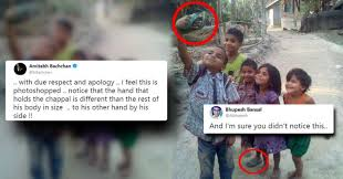 Trolled Rvcj Dailyhunt - Slipper Amitabh Kids Called Viral Fake Of Clicking Selfie Bachchan Badly Pic Gets With