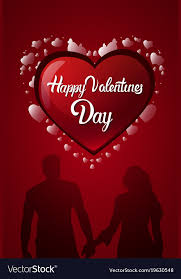 Happy Valentines Day Card Design Heart Shape And