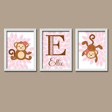 girl monkey wall art girl name print baby girl by trmdesign on pink and brown wall art with girl monkey wall art canvas or prints baby girl nursery decor