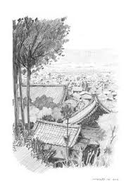 kyoto rakuhoku giclee print original pencil drawing wall art landscape