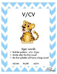 Vcv Pattern Inspiration Orton GillinghamSyllable Division Posters VCCV VCV VCV CVVC VCCCV
