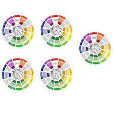Details About 5pcs Coloring Matching Guide Color Wheel Colors Mixing Blending Chart Tool