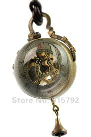 aliexpress com buy men women crystal ball golden movement aliexpress com buy men women crystal ball golden movement skeleton necklace mechanical wind up pocket watches leather pendant whole price h033 from