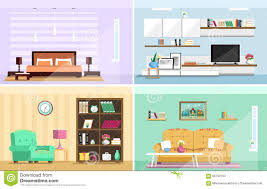 flat furniture. Set Of Colorful Vector Interior Design House Rooms With Furniture Icons: Living Room, Bedroom. Flat Style. T