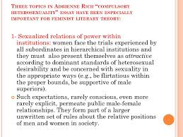 gay lesbian studies queer theory ppt three topics in adrienne rich compulsory heterosexuality essay have been especially important for feminist literary theory