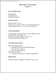 Activities Resume Format Extracurricular Activities Resume Template Activity Examples Sample 19