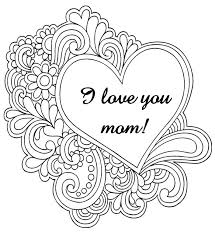 Bouquet of roses coloring pages. Art Therapy Coloring Page Mother S Day I Love You Mom 8