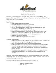 Sales Representative Resume Job Description Elegant Inside Sales  Representative Sample Resume Resume Templates