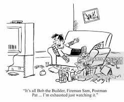 kids watching tv black and white. kids lie about watching tv. boy says: \u0027it\u0027s all bob the builder, fireman sam, postman pat i\u0027m exhausted just it.\u0027 tv black and white