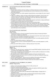 Mechanic Resume Plant Maintenance Mechanic Resume Samples Velvet Jobs 49