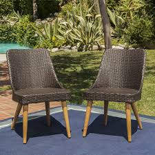 Amazon com christopher knight home desmond wicker outdoor dining chairs set of 2 perfect for patio in multibrown with light brown finish garden