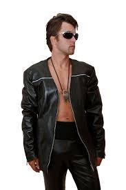 mens black leather blazer jacket zipper detail hi tek
