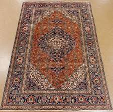 persian rug tabrizz hand knotted wool orange navy amber oriental carpet 7 x 10