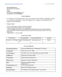 Resume Formats For Experienced Fresh 1 Year Experience Format Java