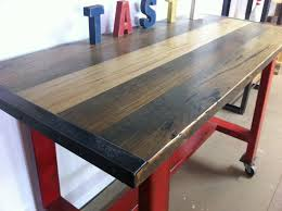 recycled industrial furniture. wonderful recycled red metal island bench with blackbutt top  close up throughout recycled industrial furniture d