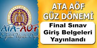 ATA AÖF Sınav Giriş Belgesi Yayımlandı!