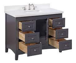 Abbey 42 Traditional Shaker Style Bathroom Vanity Cabinet Quartz Top Kitchenbathcollection