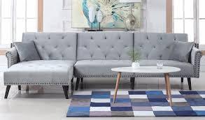 Light Grey Velvet Sectional Victoria Classic Velvet Nailhead Trim Sleeper Sofa With Left