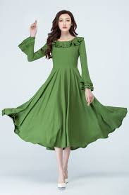 Maxi Linen Dress Women Green Dress Prom Dress Ruffle Dress