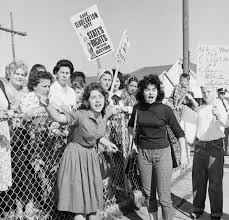 women protest against integration outside william franz elementary in louisiana in 1960