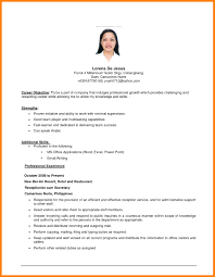 Objectives In A Resume Resume Work Template