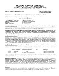 Medical Records Clerk Resume 6 Deputy City Sample General