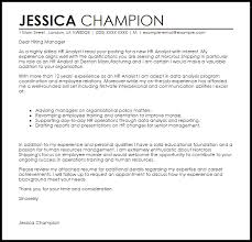 Hr Analyst Cover Letter Sample Cover Letter Templates Examples