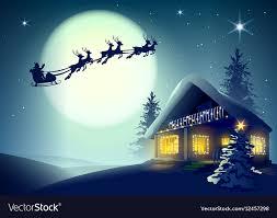 santa claus and reindeer flying. In Santa Claus And Reindeer Flying VectorStock